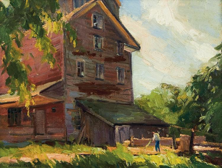 Artwork by Leonard Brooks,  Mill at Meadowvale, Ontario
