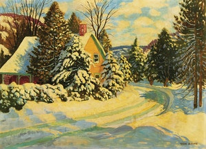 Artwork by Thomas Albert Stone, Wintry Cottage, Credit Forks