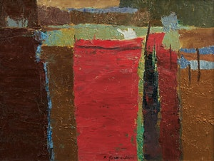 Artwork by Ronald York Wilson, Red Boat, Mexico (1956)