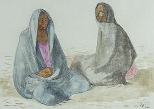 Artwork by Francisco Zúñiga, Dos Mujeres Sentadas Con Rebozos