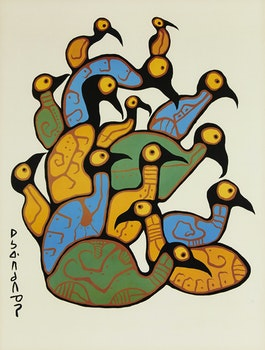 Artwork by Norval Morrisseau, Loon Family