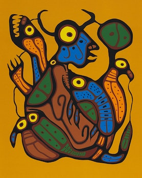 Artwork by Norval Morrisseau, Metamorphosis: Man into Turtle