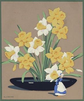 Artwork by Alfred Joseph Casson, Daffodils with Delft Figurine