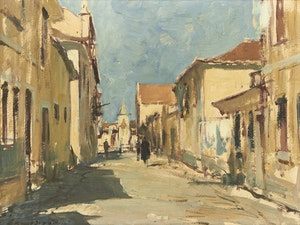 Artwork by Edward Seago, Rua do Poco Novo - Cascais
