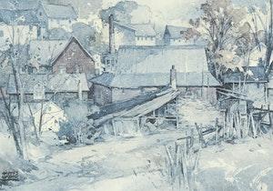 Artwork by William Garnet Hazard, Harbour Morning; Village Mill
