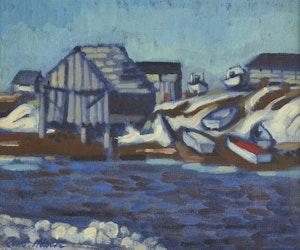 Artwork by René Hébert, Shoreline Landscape