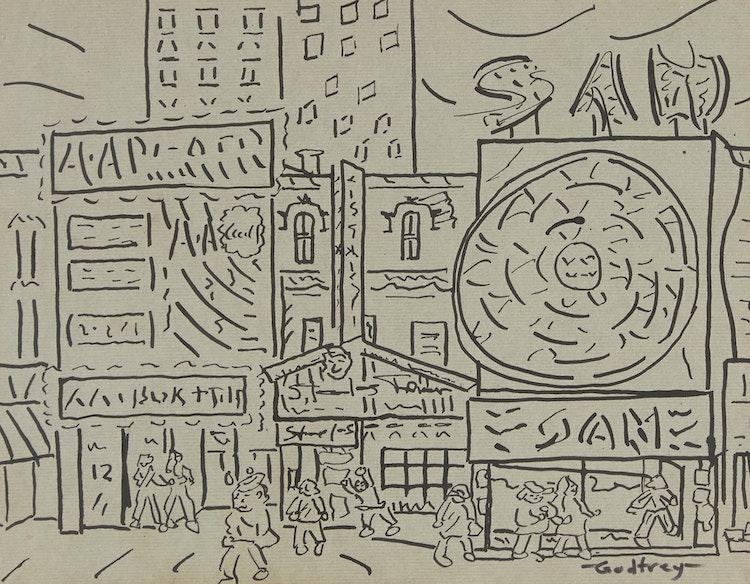 "Artwork by John Godfrey,  Untitled (""Yonge Street Scene""); Untitled (""Airport Scene"")"
