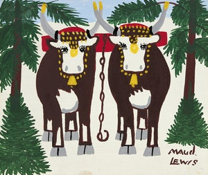Artwork by Maud Lewis, Oxen in Winter Landscape