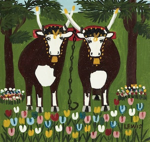 Artwork by Maud Lewis, Oxen in Spring