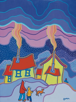 Artwork by Ted Harrison, Walking Home