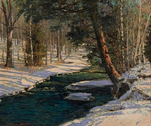 Artwork by Frank Hans Johnston, Woodland Stream