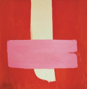 Artwork by Jack Hamilton Bush, Pink on Red (Thrust)