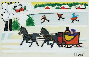 Artwork by Maud Lewis, Sleighing and Skating Scene