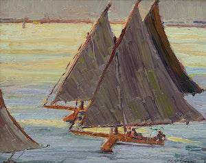 Artwork by Peter Clapham Sheppard, Ice Sailing, Lake Ontario (circa 1912)