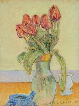 Artwork by Joseph Francis Plaskett, Tulips in Glass Vase