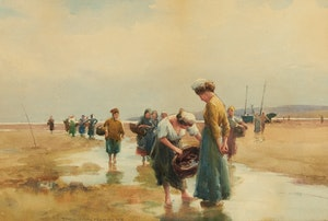 Artwork by Farquhar McGillivray Strachan Knowles, Gathering Oysters, 1903