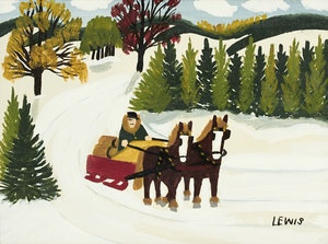 Artwork by Maud Lewis, Winter Scene with Horse-Drawn Sleigh