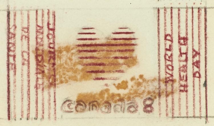 Artwork by Joyce Wieland,  World Health Stamp, Sketch No. 2