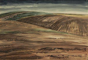 Artwork by Carl Fellman Schaefer, Plowed Fields, October 1964