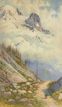 Artwork by Frederic Marlett Bell-Smith, Hiking in the Mountains