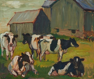 Artwork by Kathleen Moir Morris, Cattle at Elliott Family Farm Near Marshall's Bay