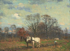 Artwork by Peleg Franklin Brownell, Tilling the Land