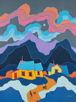 Artwork by Ted Harrison, The Village Road