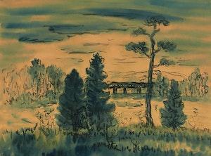 Artwork by Kazuo Nakamura, Landscape with Bridge