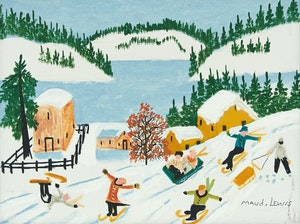 Artwork by Maud Lewis, Skiing and Sledding Scene