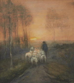 Artwork by William Edwin Atkinson, Sheep Going Home Near Rockwood
