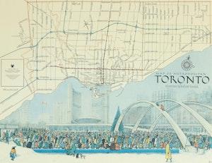 Artwork by William Kurelek, Map of Metropolitan Toronto
