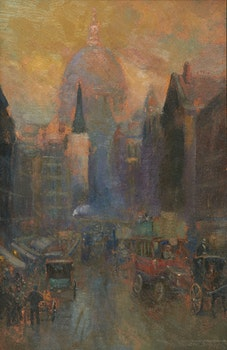 Artwork by Frederic Marlett Bell-Smith, Fleet Street