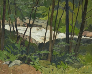 Artwork by Alfred Joseph Casson, Rapids on the Oxtongue River