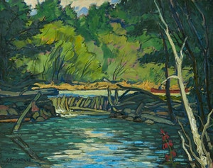 Artwork by Adolphus George Broomfield, Dam on Buck Creek, Lake Mazinaw, Ontario