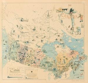 Artwork by William Kurelek, Map of Canada