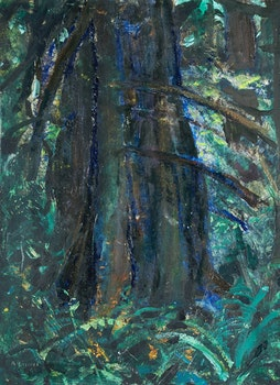 Artwork by Arthur Lismer, Dark Tree - B.C. Forest