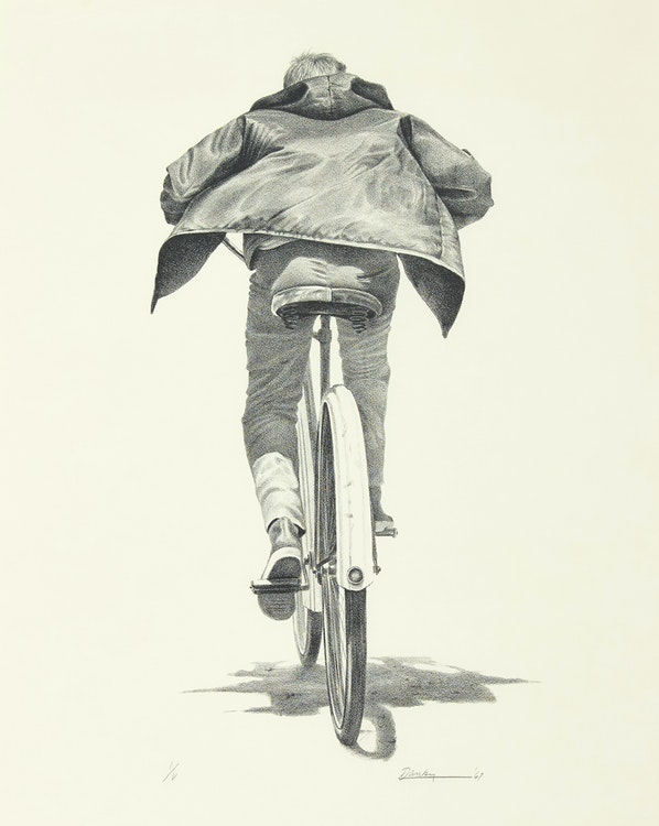 Artwork by Kenneth Danby,  The Cyclist