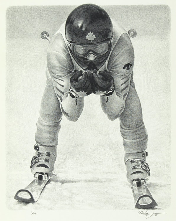 Artwork by Kenneth Danby,  The Downhill Racer