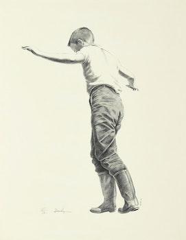 Artwork by Kenneth Danby, Letting Go (Boy on Fence)