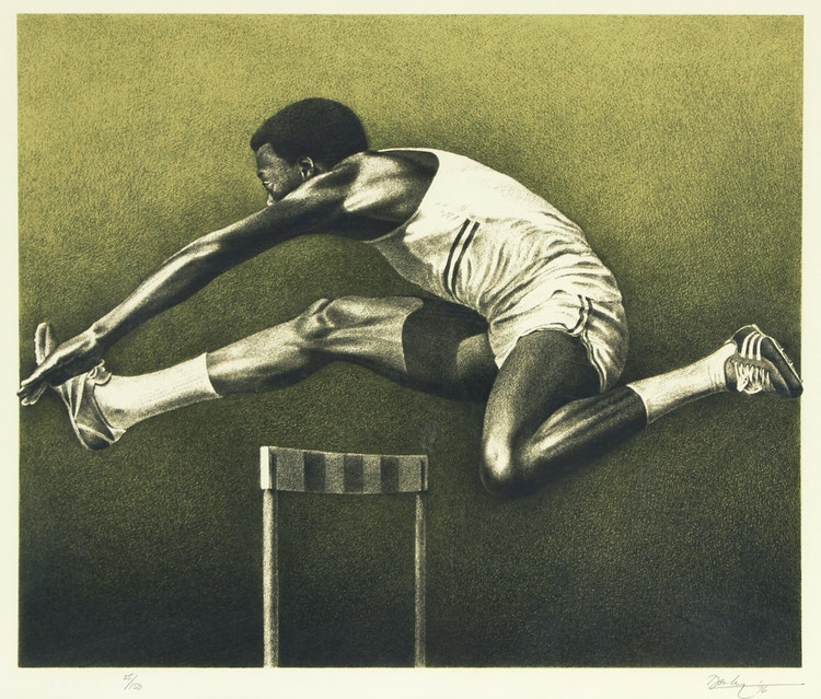 Artwork by Kenneth Danby,  The Hurdler