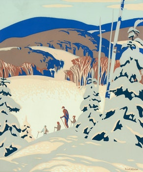 Artwork by Alfred Joseph Casson, Skiers