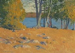 Artwork by Charles William Jefferys, Landscape Overlooking a Lake