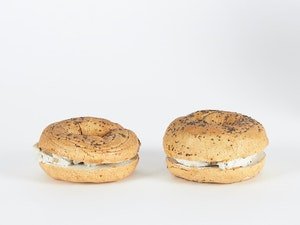 Artwork by David James Gilhooly, 2 Poppyseed Bagels with Cream Cheese