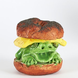 Artwork by David James Gilhooly, Frog Sandwich with Cheese on a Bagel