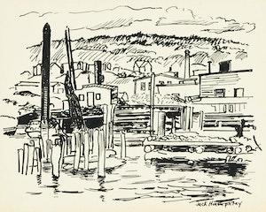 "Artwork by Jack Weldon Humphrey, Four artworks entitled ""Waterfront, St. John, New Brunswick"""