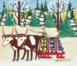 Artwork by Maud Lewis, Winter Logging Scene