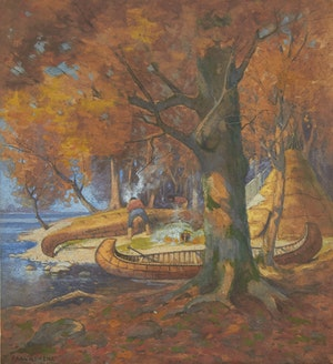Artwork by Carl Henry von Ahrens, Shoreline Encampment