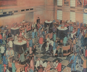 Artwork by William Kurelek, Light Trading Day, Toronto Stock Exchange