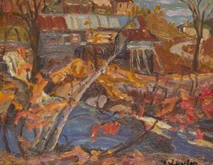 Artwork by Ralph Wallace Burton, Log Mill, Perkin Mills, Que.