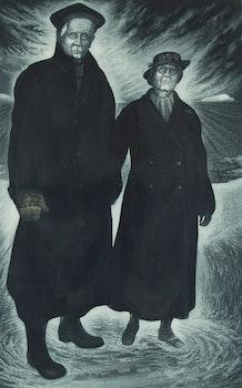 Artwork by David Lloyd Blackwood, Captain Alb and Aunt Nance